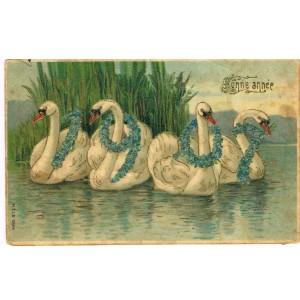 CARTE POSTALE GAUFREE - BONNE ANNEE 1907 AVEC CYGNES