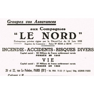 """BUVARD COMPAGNIES D'ASSURANCES """"LE NORD"""""""