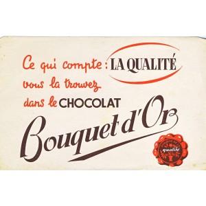 BUVARD CHOCOLAT BOUQUET D'OR LA QUALITE