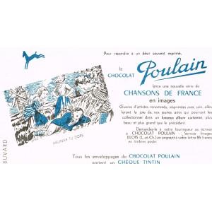 BUVARD CHOCOLAT POULAIN CHANSONS DE FRANCE - MEUNIER TU DORS