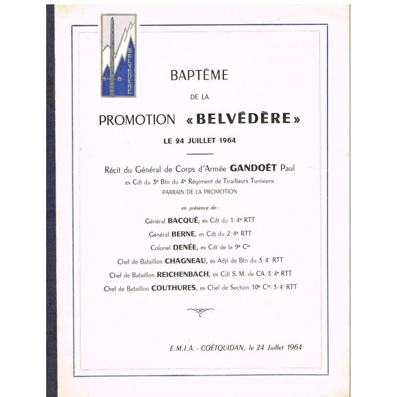 PUBLICATION MILITAIRE  - BAPTEME DE LA PROMOTION BELVEDERE LE 24 JUILLET 1964