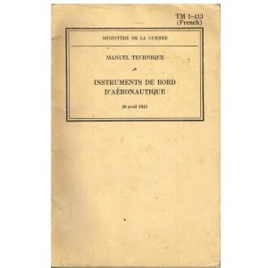 LIVRE - INSTRUMENTS DE BORD D'AERONAUTIQUE - 20 AVRIL 1943