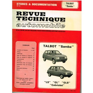 "REVUE TECHNIQUE AUTOMOBILE 1982 - TALBOT ""SAMBA"""