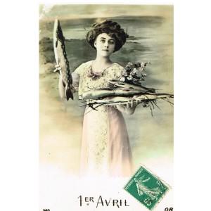 CARTE POSTALE 1er AVRIL - JEUNE FEMME ET BROCHETS