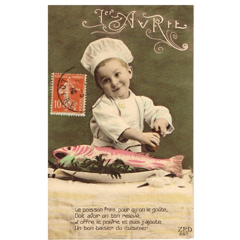 CARTE POSTALE 1er AVRIL - ENFANT CUISINIER