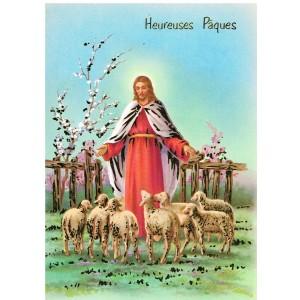 CARTE POSTALE HEUREUSES PAQUES - JESUS ET SES AGNEAUX