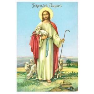 CARTE POSTALE JOYEUSES PAQUES - JESUS TENANT L'AGNEAU PASCAL