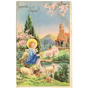 CARTE POSTALE JOYEUSES PAQUES - L'ENFANT JESUS GARDANT SES MOUTONS