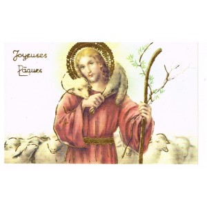 CARTE POSTALE JOYEUSES PAQUES - JESUS ET L'AGNEAU PASCAL
