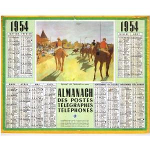 CALENDRIER ALMANACH DES PTT 1954 - DEVANT LES TRIBUNES