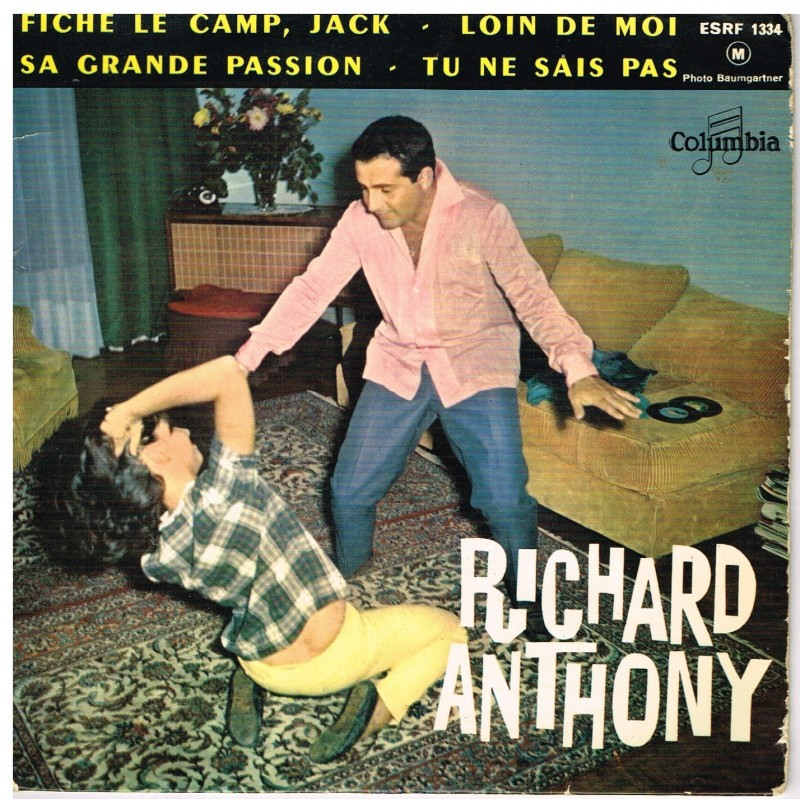 DISQUE 45 TOURS 17 cm EP - BIEM - RICHARD ANTHONY - FICHE LE CAMP, JACK