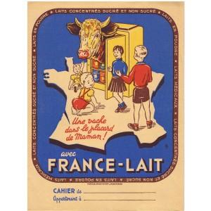 PROTEGE CAHIER FRANCE-LAIT, UNE VACHE DANS LE PLACARD DE MAMAN !