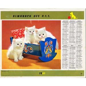 CALENDRIER ALMANACH DES PTT 1965 - CHATONS ET CHIOTS