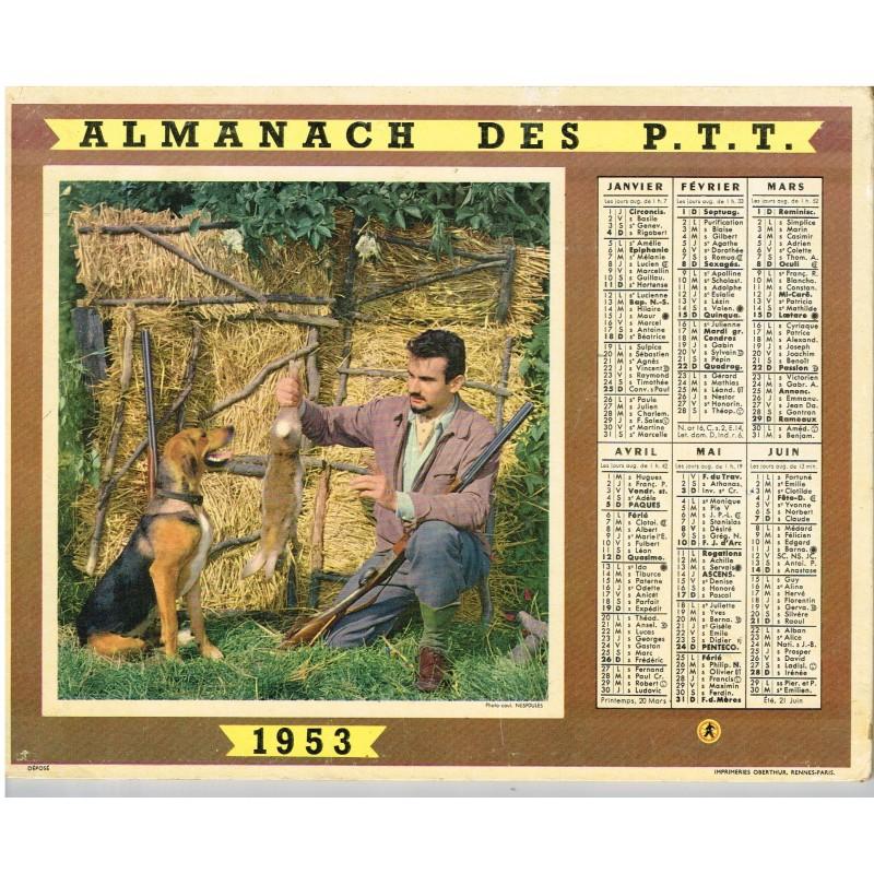 CALENDRIER ALMANACH DES PTT 1953 - CHASSE ET PECHE