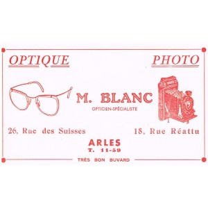 BUVARD OPTIQUE PHOTO M. BLANC - ARLES