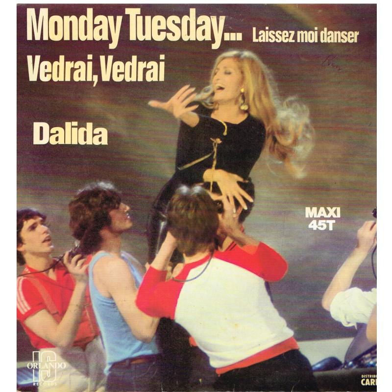 DISQUE MAXI 45 TOURS  - DALIDA - MONDAY TUESDAY... LAISSEZ MOI DANSER