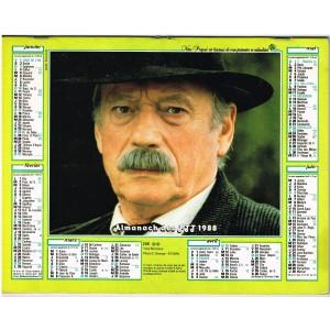 CALENDRIER ALMANACH DES PTT 1988 YVES MONTAND - EMMANUELLE BEART