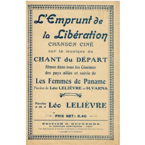 PARTITION - L'EMPRUNT DE LA LIBERATION - CHANSON CINE