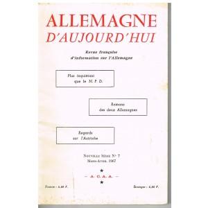 LIVRE - ALLEMAGNE D'AUJOURD'HUI - REVUE FRANCAISE D'INFORMATION SUR L'ALLEMAGNEne