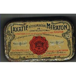 BOITE ANCIENNE LAXATIF HYDROMINERAL MIRATON