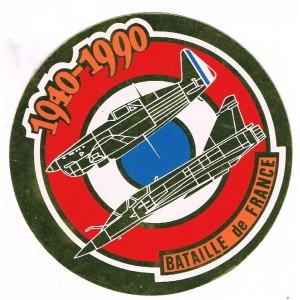 AUTOCOLLANT BATAILLE DE FRANCE - 1940-1990