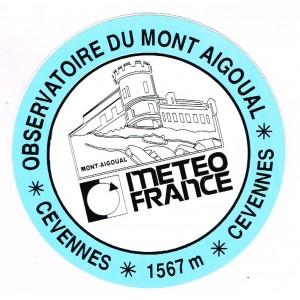 AUTOCOLLANT METEO FRANCE - OBSERVATOIRE DU MONT AIGOUAL BLEU ET BLANC