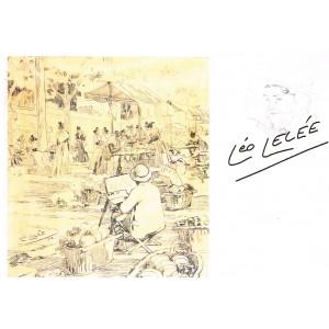 CARTE POSTALE LEO LELEE (1872-1947) AUTOPORTRAIT SUR LE MARCHE D'ARLES - 1913