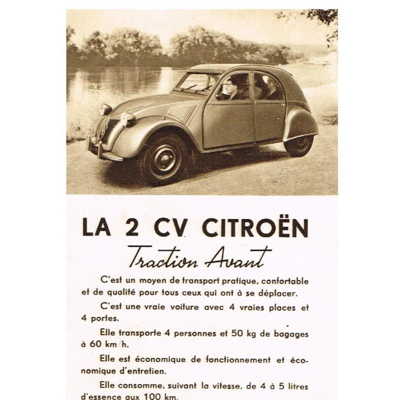 PUBLICITE : LA 2 CV CITROËN TRACTION AVANT - 1948