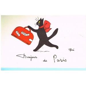 """CARTE POSTALE CHAT NOIR """"BONJOUR DE PARIS"""" - SIGNEE RENE"""