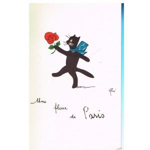 """CARTE POSTALE CHAT NOIR """"UNE FLEUR DE PARIS"""" - SIGNEE RENE"""