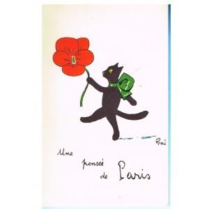 """CARTE POSTALE CHAT NOIR """"UNE PENSEE DE PARIS"""" - SIGNEE RENE"""