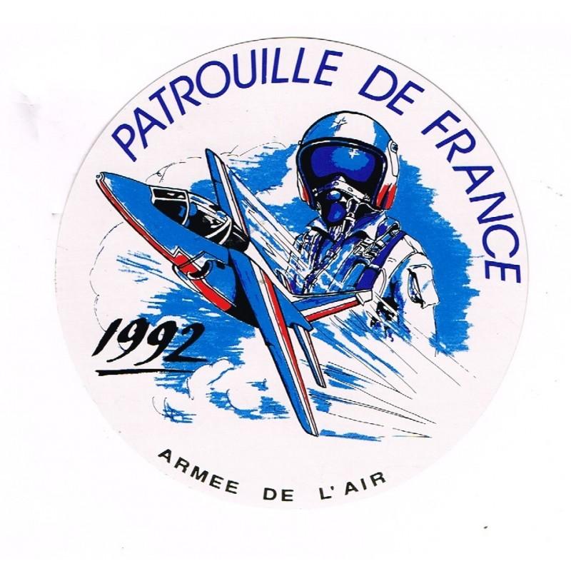 ADHESIF DE LA PATROUILLE DE FRANCE PILOTE ET AVION - 1992