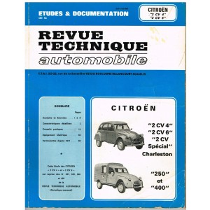 "REVUE TECHNIQUE AUTOMOBILE ETUDES ET DOCUMENTATION - CITROEN ""2 CV 4"", ""2 CV 6"""