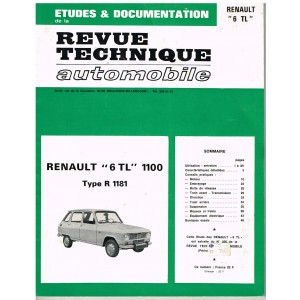 "REVUE TECHNIQUE AUTOMOBILE ETUDES ET DOCUMENTATION - RENAULT ""6TL"" 1100 TYPE R 1181"