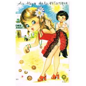 CARTE POSTALE BRODEE HABILLEE - AU PAYS DE LA PETANQUE