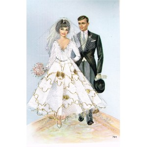 CARTE POSTALE BRODEE HABILLEE - MARIAGE