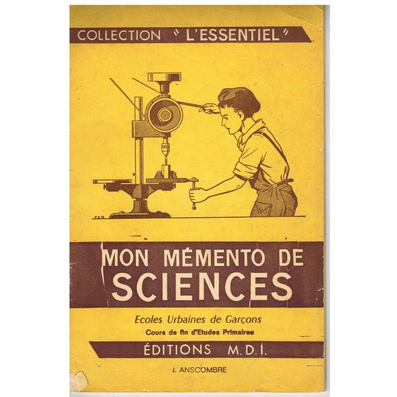 CAHIER MON MEMENTO DE SCIENCES - ECOLES URBAINES DE GARCONS