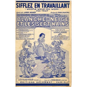 6 PARTITIONS DU FILM DE WALT DISNEY 1938 BLANCHE NEIGE ET LES SEPT NAINS