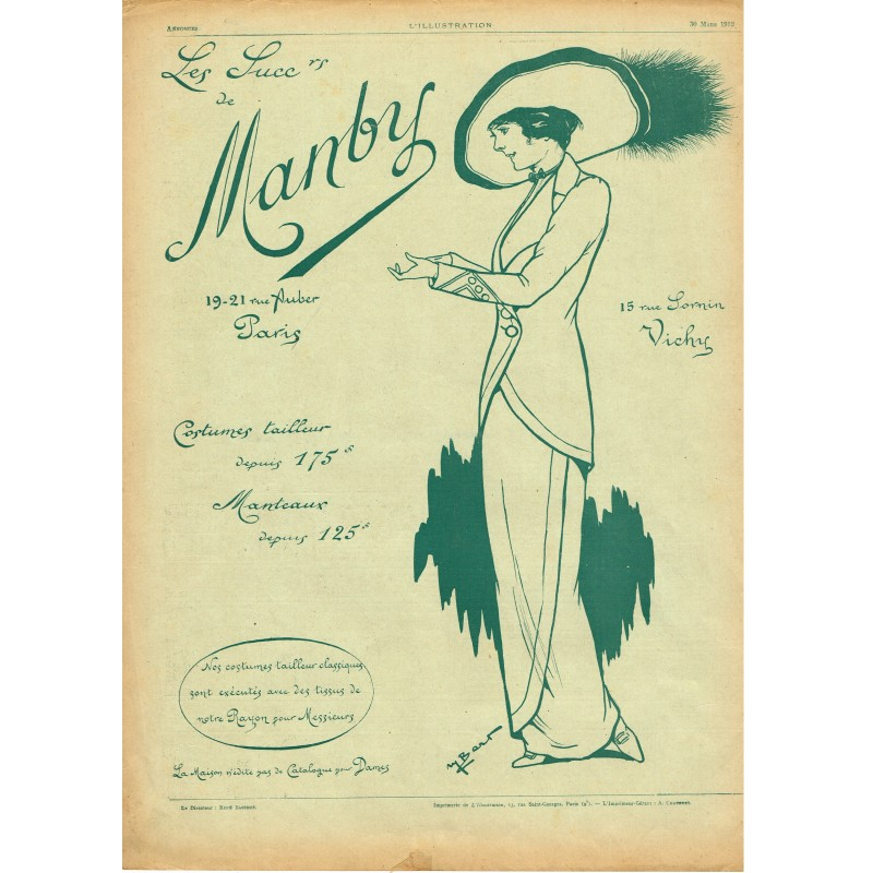 PUBLICITE ANCIENNE DE 1912 COSTUMES TAILLEUR - MANTEAUX MANBY