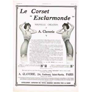 """PUBLICITE ANCIENNE DE 1912 LE CORSET """"ESCLARMONDE"""""""