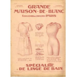 PUBLICITE ANCIENNE DE 1912 GRANDE MAISON DE BLANC - SPECIALITE DE LINGE DE BAIN