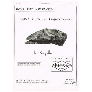 PUBLICITE ANCIENNE DE 1926 LA CASQUETTE ELINA POUR VOS VACANCES
