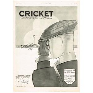 PUBLICITE ANCIENNE DE 1926 CRICKET LA CASQUETTE DU SPORTSMAN