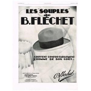 PUBLICITE ANCIENNE DE 1929 CHAPEAU - LES SOUPLES DE B. FLECHET