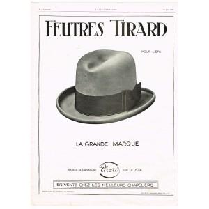 PUBLICITE ANCIENNE DE 1926 CHAPEAU - FEUTRES TIRARD