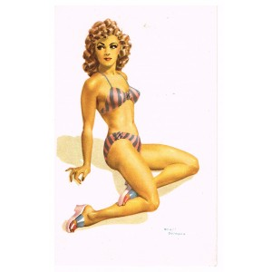 CARTE POSTALE PIN-UP EN MAILLOT ROSE ET GRIS - ANDRE BERMOND
