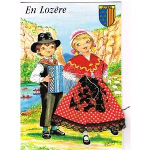 CARTE POSTALE BRODEE-HABILLEE - EN LOZERE signée GARCIA