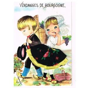 CARTE POSTALE BRODEE HABILLEE - VENDANGES DE BOURGOGNE