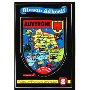 CARTE POSTALE BLASON ADHESIF - AUVERGNE