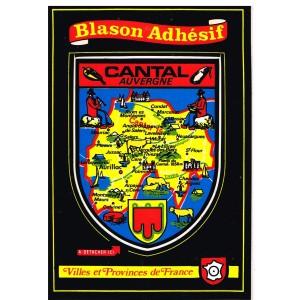 CARTE POSTALE BLASON ADHESIF - CANTAL
